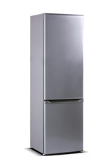 Gray steel refrigerator isolated on white, fridge freezer