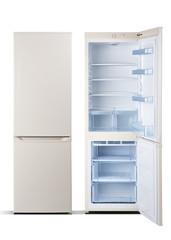 Refrigerators,beige  color, combi  with freezer,  open door, isolated on white