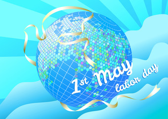 1st may Labor day vector illustration. Globe and silhouette dove white banner on blue sky background