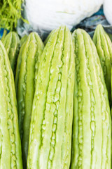 Momordica charantia often called bitter melon, bitter gourd or bitter squash