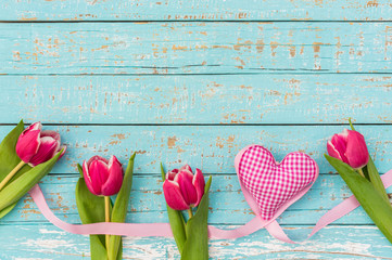 Rosa Tulpen Romantisch Herz Liebe Hintergrund