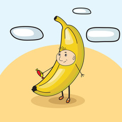 child banana with candy vector