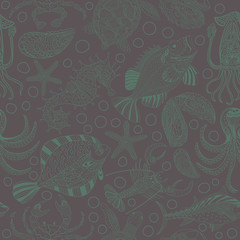 Seamless texture of a seafood. Vector background with a sketchy