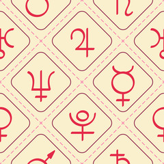 Seamless pattern with astrology symbols planets for your design