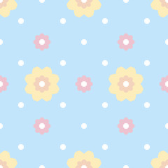 Gentle seamless pattern of flowers with serrated petals