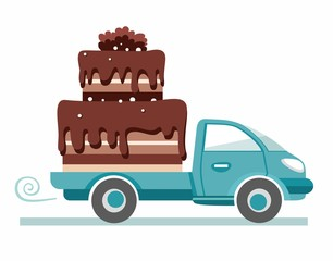 Cakes, shipping, vector image.