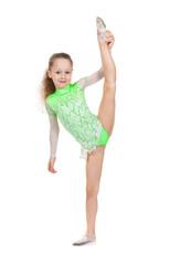 cute little girl gymnast with a highly raised leg. Vertical splits.