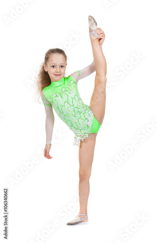74be1f2f4 cute little girl gymnast with a highly raised leg. Vertical splits ...
