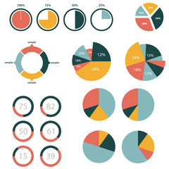 Infographic Elements, pie chart set icon, business elements and statistics with numbers.
