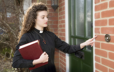 Young woman priest ringing door bell of a house  sc 1 st  Fotolia & Search photos