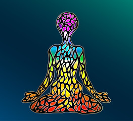 the colors of the chakras, the figure of the lotus posture