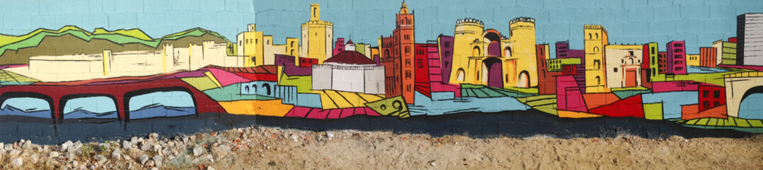 Street painted wall with Badajoz skyline made by anonymous artist