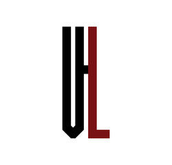 VL initial logo red and black