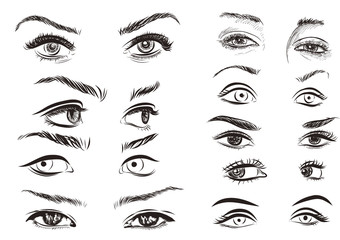hand drawn woman eyes collection on white background.