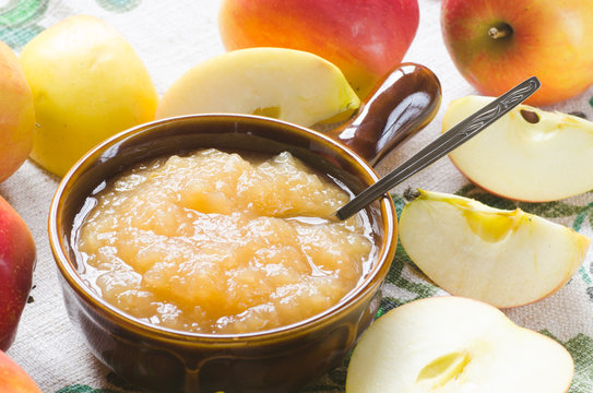 fresh apples and apple jam