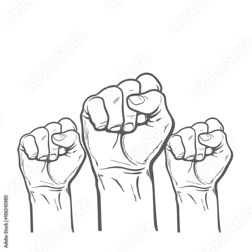 Raised Fist Strong Fist On A White Background Mans Hand Male Fist