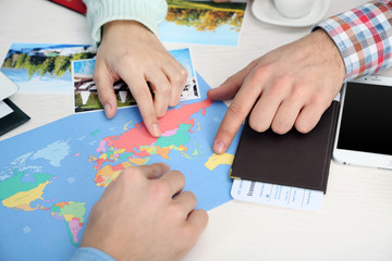 Offers vacation options in the office of travel company