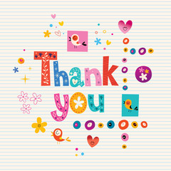 thank you card with lined paper background