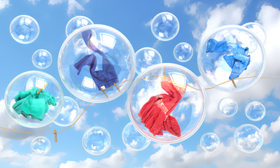 things falling in soap bubbles concept of clean washing and fres