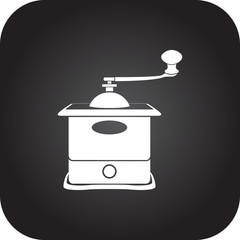 Old coffee grinder mill simple icon on square  background