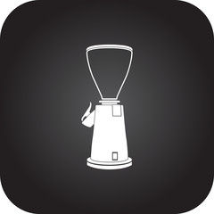 Coffee grinder mill machine simple icon on square  background