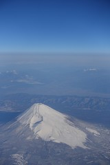 Southern side of Mt. Fuji aerial photo from airplane