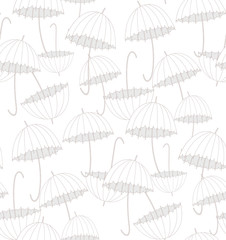 White umbrellas. Pattern.