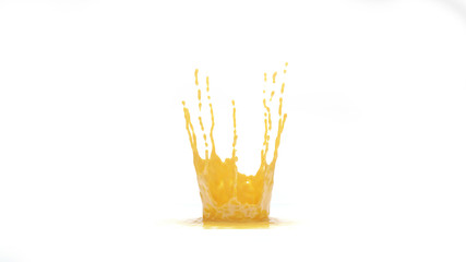 3D rendering Orange Juice Splash isolated on white background