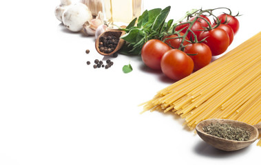 Pasta ingredients on white background