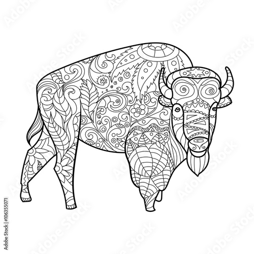 Bison Animal Coloring Book For Adults Vector