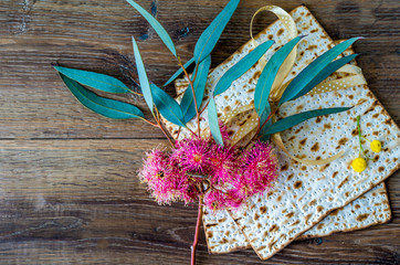 Passover matzoh for Jewish Passover celebration.