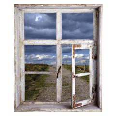 stare drewniane okno z widokiem na krajobraz, za darmo