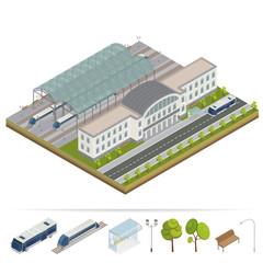 Railway Station. Railway Building. Railway Terminal. Isometric Building