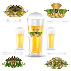 Three realistic mock up glass of beer and set of luxury labels on white background. Vector illustration one bottle sharp and two bottles depth of field