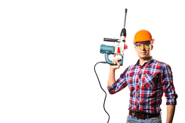 builder hold in hand the drill .White background.