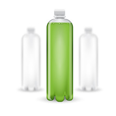 Three realistic mock up white plastic bottle with green drink on white background. Vector illustration one bottle sharp and two bottles depth of field