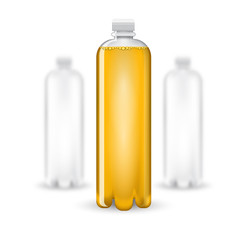 Three realistic mock up white plastic bottle with yellow drink on white background. Vector illustration one bottle sharp and two bottles depth of field