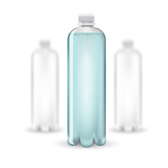 Three realistic mock up white plastic bottle with clean blue watter on white background. Vector illustration one bottle sharp and two bottles depth of field