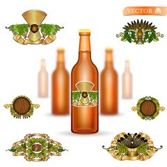 Three realistic mock up brown glass bottle of beer and set of luxury labels on white background. Vector illustration one bottle sharp and two bottles depth of field