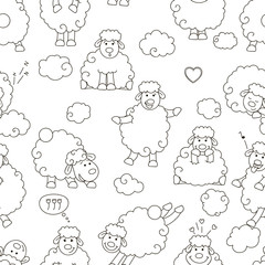 Seamless pattern of sheep.