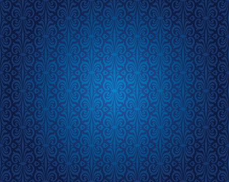 Indigo blue vintage wallpaper background repetitive pattern design