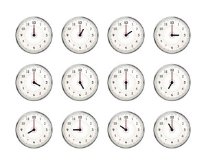Set of clocks icons for every hour of day on white
