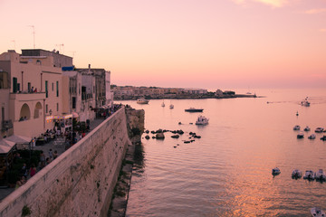 Wall Mural - Panorama of Otranto at sunset.
