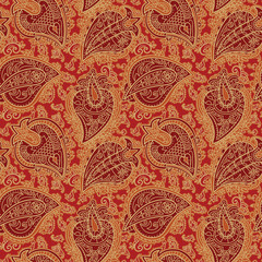 Seamless Paisley Pattern. Hand drawn seamlessly repeating ornamental wallpaper or textile pattern with Paisley motives in vector format.