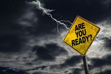 Are You Ready Sign With Stormy Background Wall mural