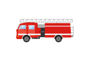 Side view of a red fire truck. Vector illustration of a fire engine.