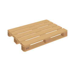 Wooden pallet isolated vector. Wooden pallet illustration in perspective, front and side view with dimensions.