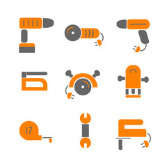 House remodel. Set tools of house renovation icons. Tools, equipment and furniture. Flat style.Vector house remodel tools