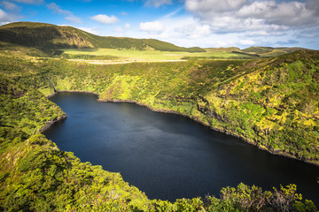 Azores landscape with lakes in Flores island. Caldeira Comprida