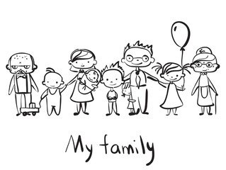 Vector children's doodle of happy family. Happy family holding hands and smiling